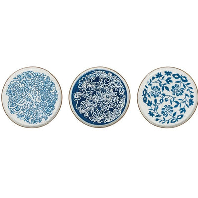 Stoneware Blue & White Stamped Plate