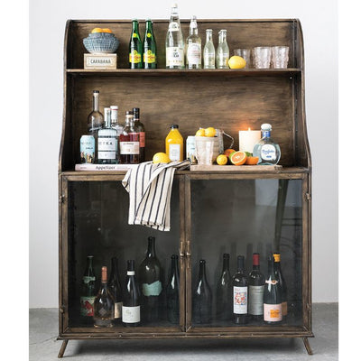 Vintage Glass Bar Cabinet