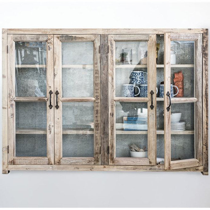 Reclaimed Wood & Metal Glass Wall Cabinet-Furniture-A Cottage in the City