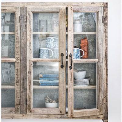 Reclaimed Wood & Metal Glass Wall Cabinet