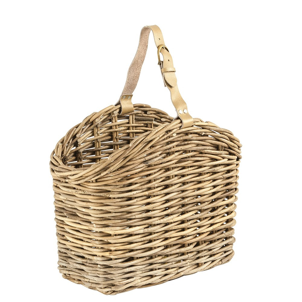 Natural Rattan Basket With Leather Handle-Decor-A Cottage in the City