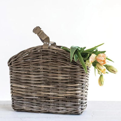 Natural Rattan Basket With Leather Handle