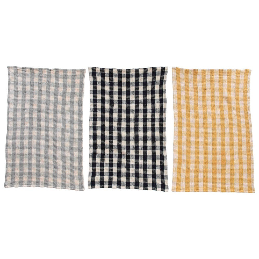 Gingham Cotton Waffle Weave Dishtowel Set-Tabletop-A Cottage in the City