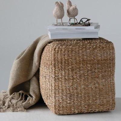 Hand Woven Seagrass Pouf