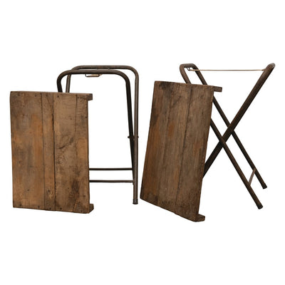 Reclaimed Wood With Metal Legs Folding Table