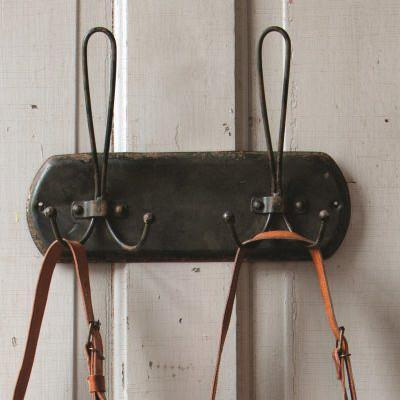 Distressed Black Metal Double Hanger