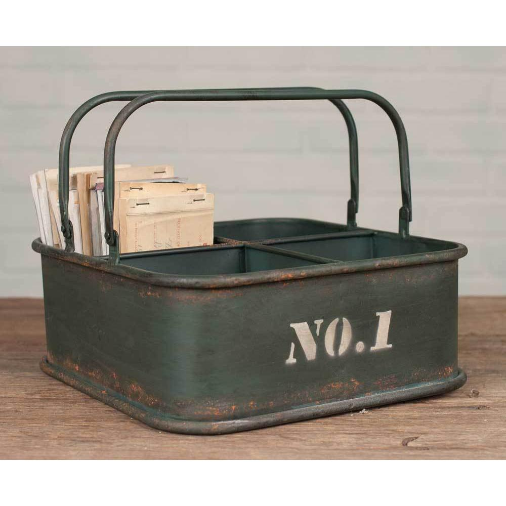 Distressed Metal Army Bin With Handles