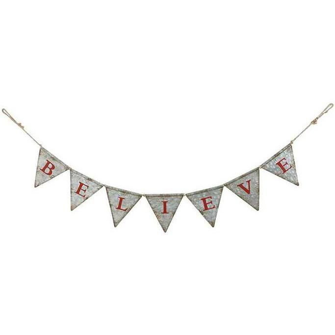 Distressed Metal Believe Pennant Banner
