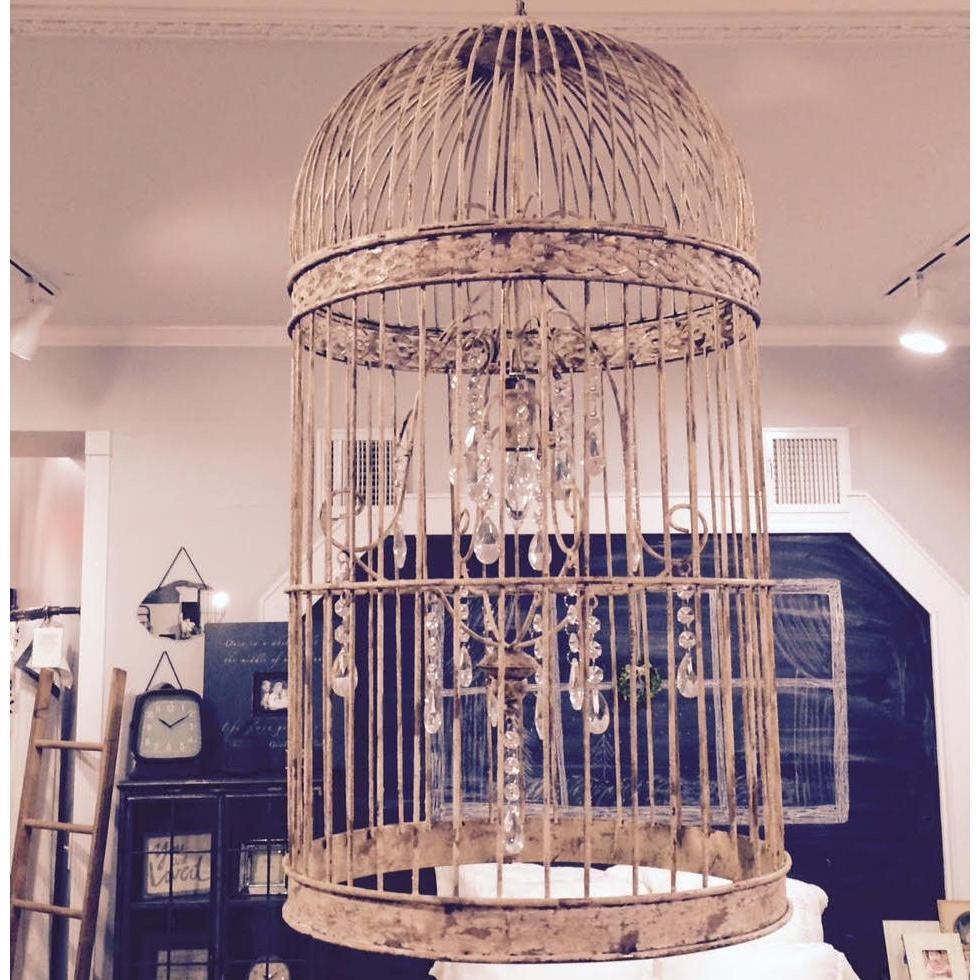 Distressed Metal Birdcage Chandelier-Furniture-A Cottage in the City