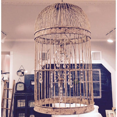 Distressed Metal Birdcage Chandelier