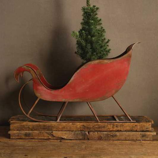 Distressed Metal Red Sleigh