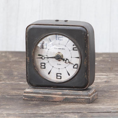Distressed Pewter Table Clock