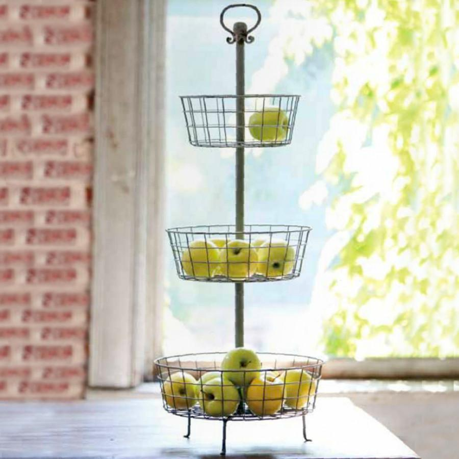 Distressed Three Tier Basket Display Stand-Tabletop-A Cottage in the City