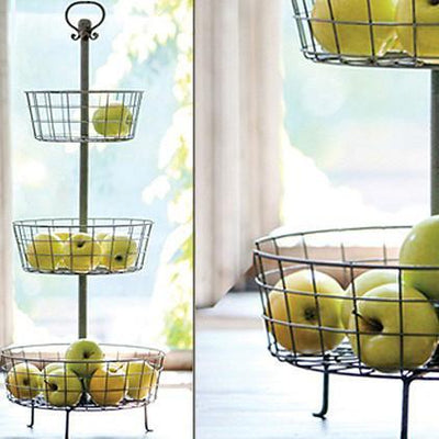Distressed Three Tier Basket Display Stand