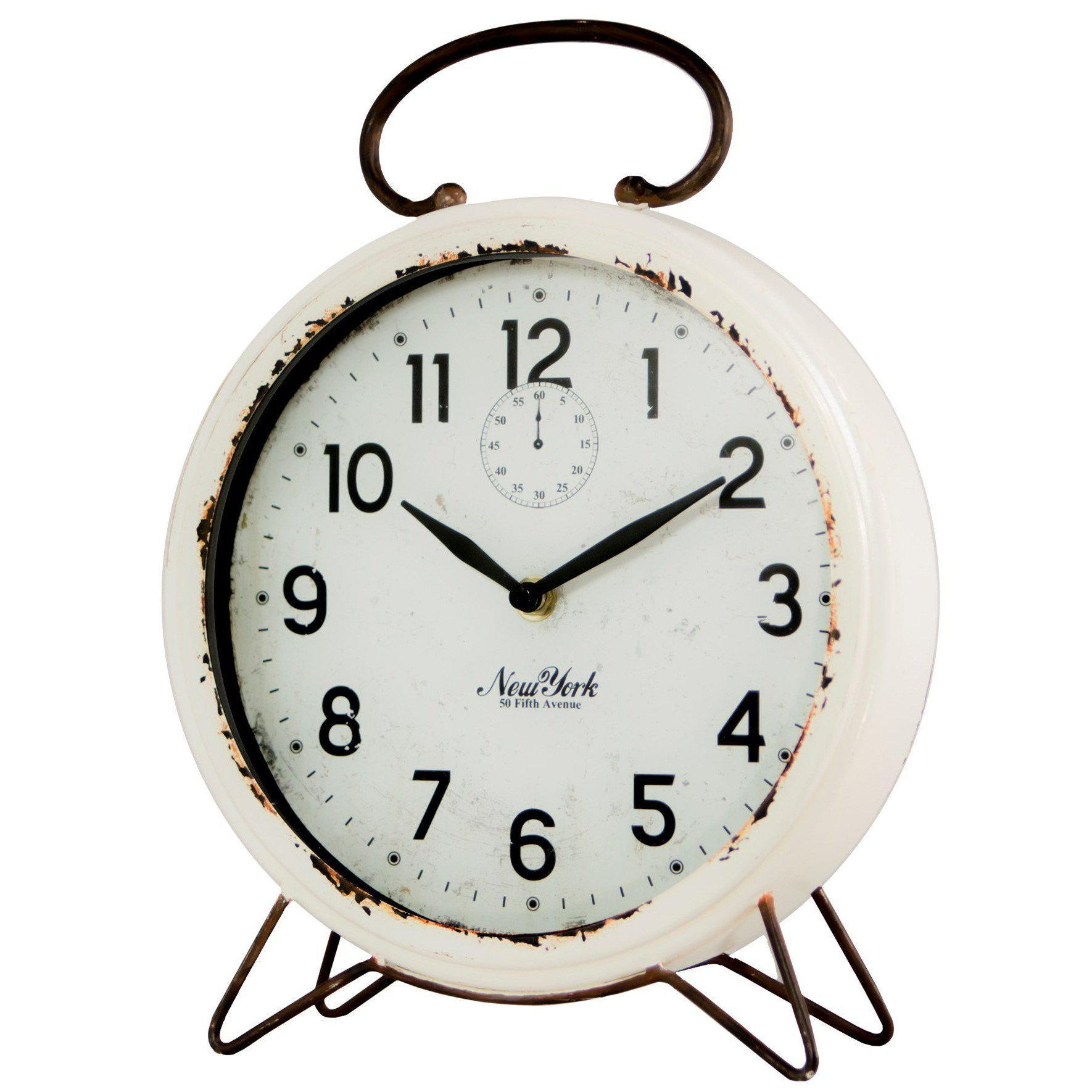 Distressed White Metal Table Clock