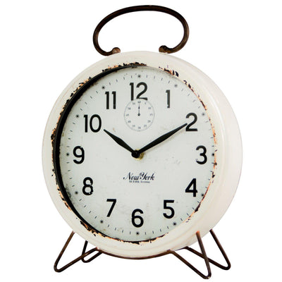 Distressed White Metal Table Clock-Decor-A Cottage in the City