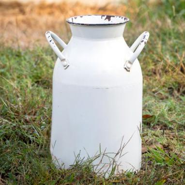 Distressed White Milk Can