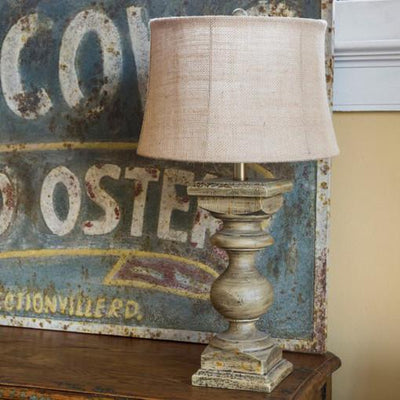 Distressed Wood Balustrade Lamp