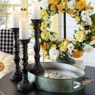 Distressed Wood Candle Holder Black