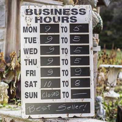 Distressed Wood Chalkboard Hours Sign