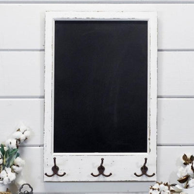 Distressed Wood Chalkboard With Hooks