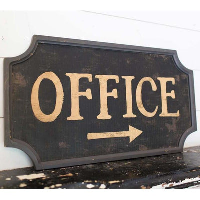 Distressed Wood Office Sign