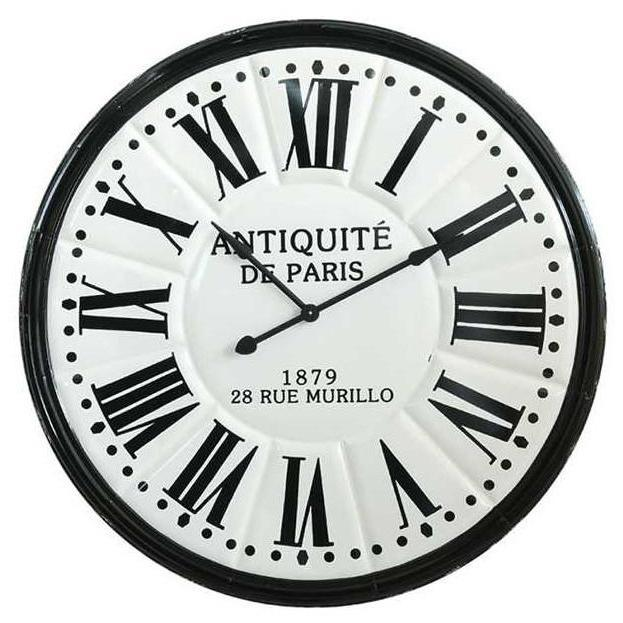 Embossed Metal Black & White Wall Clock