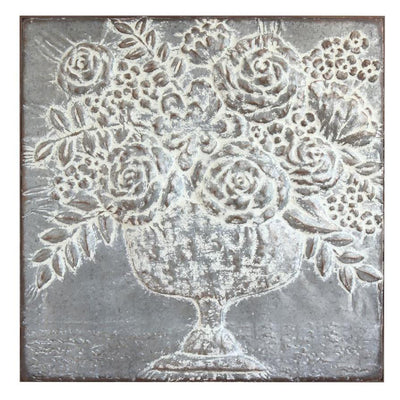 Embossed Metal Floral Bouquet Wall Art