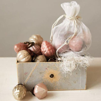 Embossed Pink & Gold Mercury Glass Ornaments Set of 36