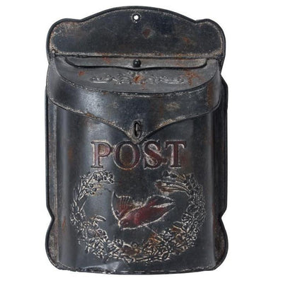 Embossed Post Antique Black Mail Box