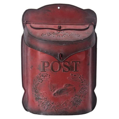 Embossed Post Antique Red Mail Box