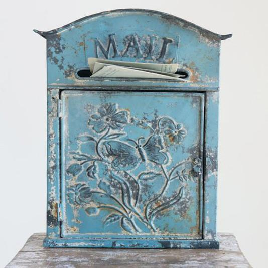 Embossed Post Floral Blue Mail Box