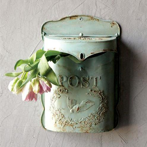 Embossed Post Light Green Mail Box-Storage-A Cottage in the City