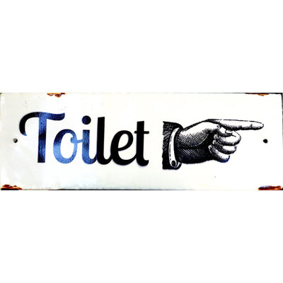 Enamel Pointing Toilet Sign