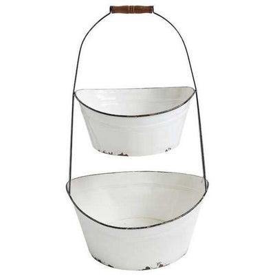Enamel Two Tier Bucket Stand