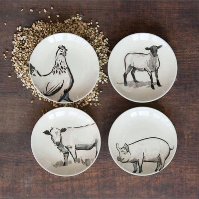 Farm Animal Stoneware Plates S/4