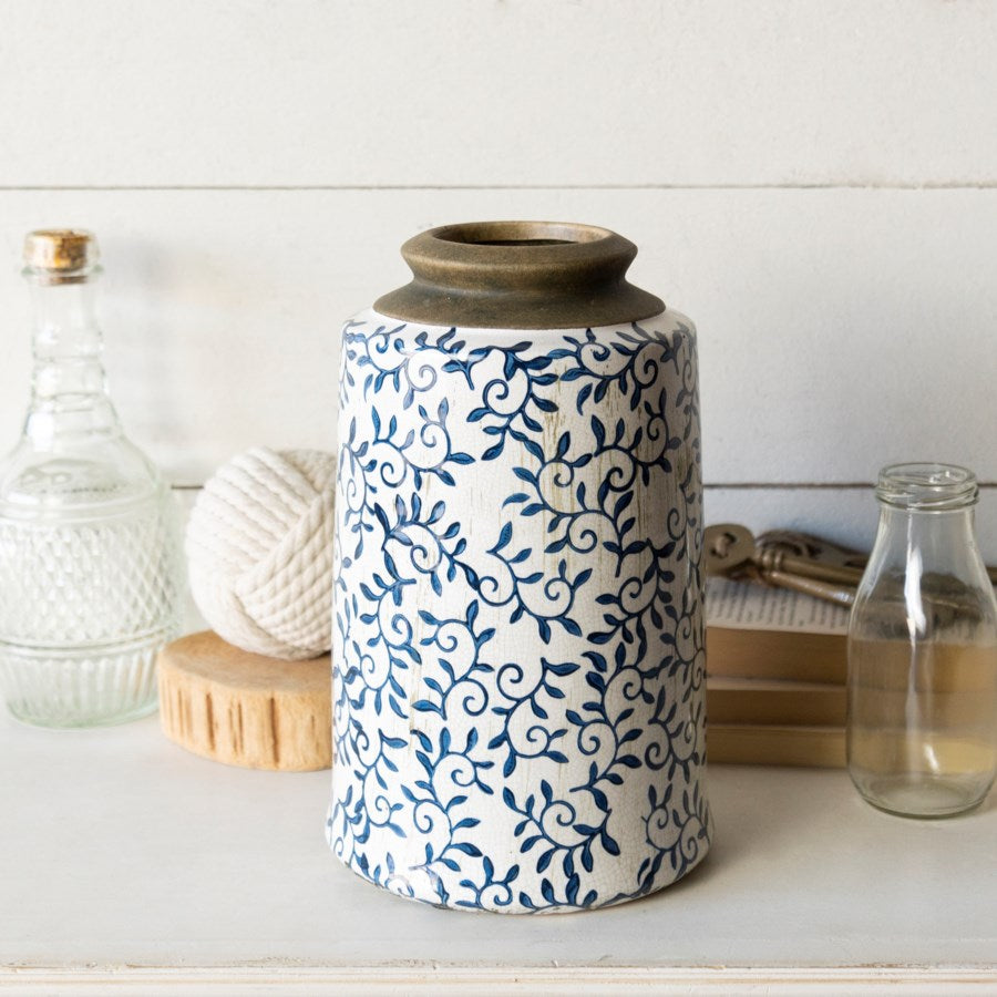 Ceramic Blue & White Canister-Decor-A Cottage in the City