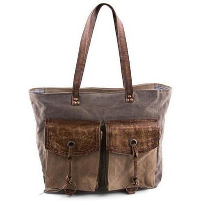 Flapper Canvas Leather Tote-Gifts-A Cottage in the City