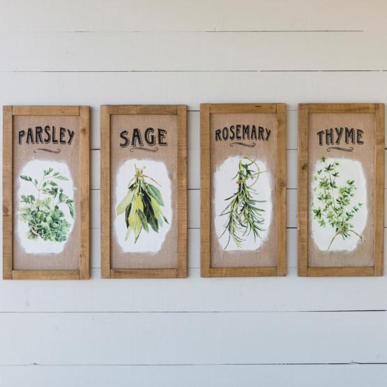 Framed Herb Print On Burlap