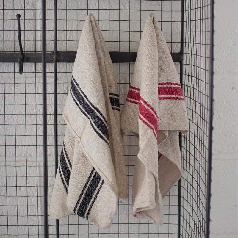 French Inspired Cotton Stripe Dishtowels S/3