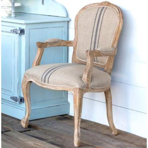 French Stripe Linen Arm Chair-Furniture-A Cottage in the City