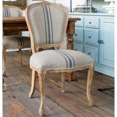 French Stripe Linen Dining Chair Set of 2