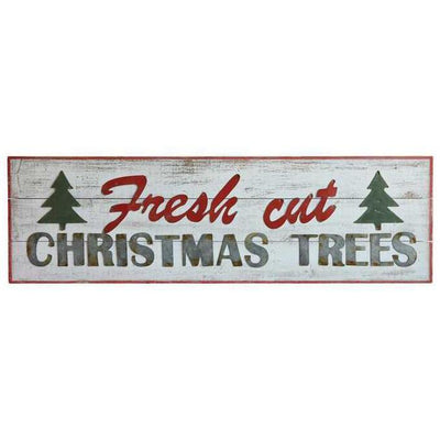 Fresh Cut Christmas Trees Metal & Wood Sign