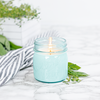 Blue Mason Jar Fresh Cut Herbs Candle 8oz