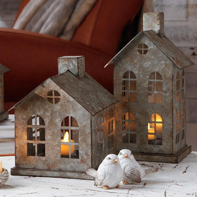 Galvanized House Candle Holder-Seasonal-A Cottage in the City