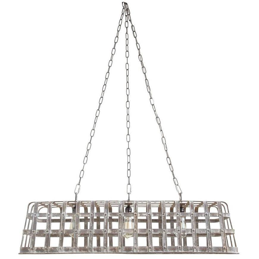 Galvanized Metal Basket Chandelier-Furniture-A Cottage in the City