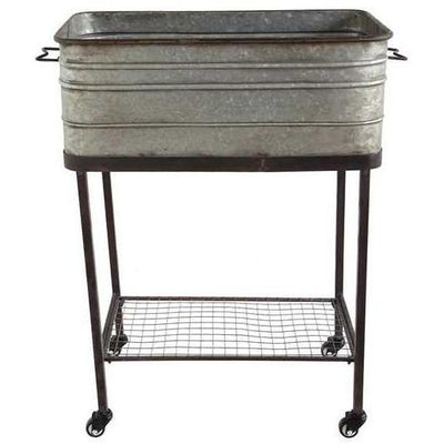 Galvanized Metal Bucket On Stand With Casters