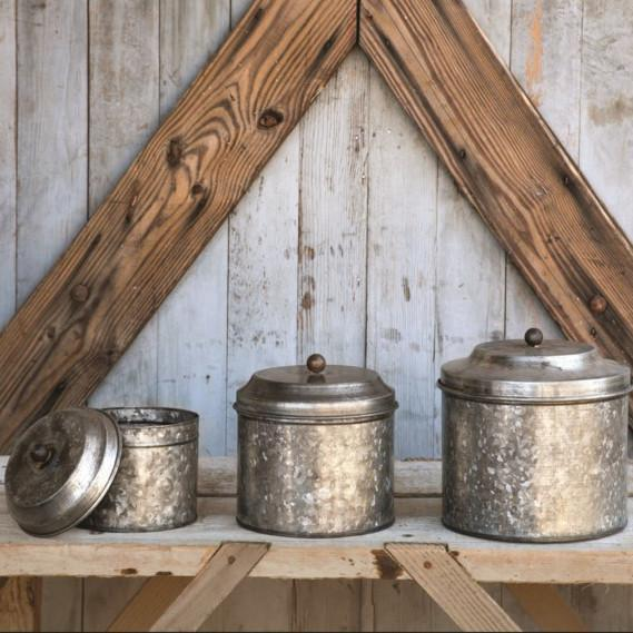 Galvanized Metal Canister-Tabletop-Large-A Cottage in the City
