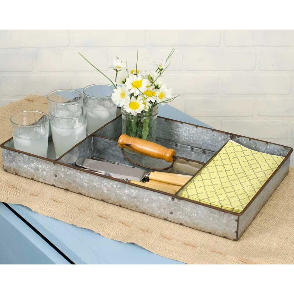 Galvanized Metal Divided Tray With Handle-Storage-A Cottage in the City