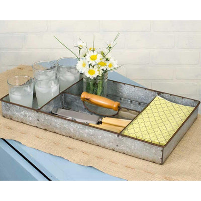 Galvanized Metal Divided Tray With Handle